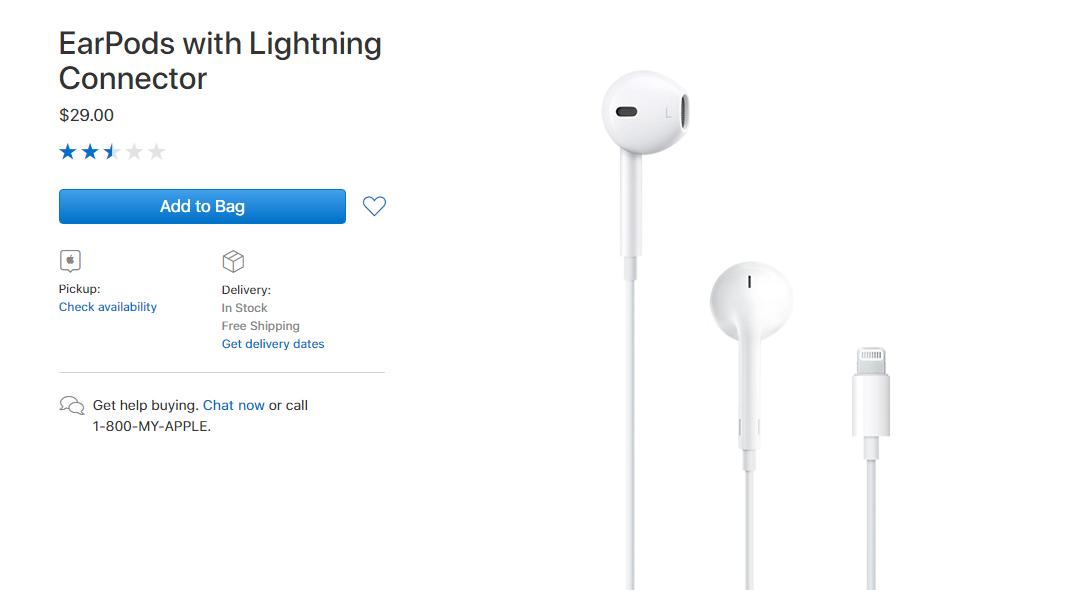 Giá bán tai nghe iphone 8/ 8 plus chính hãng trên trang chủ Apple