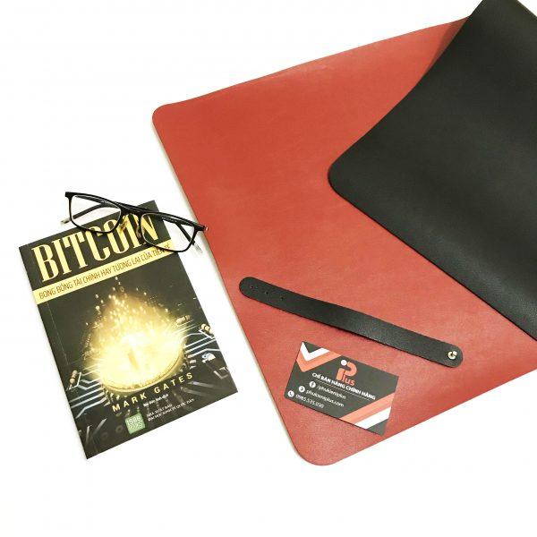 Miếng da lót bàn làm việc 2 mặt màu đen - đỏ