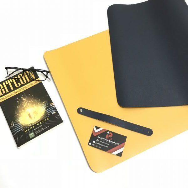 Tấm da trải bàn làm việc màu xanh tím than - vàng